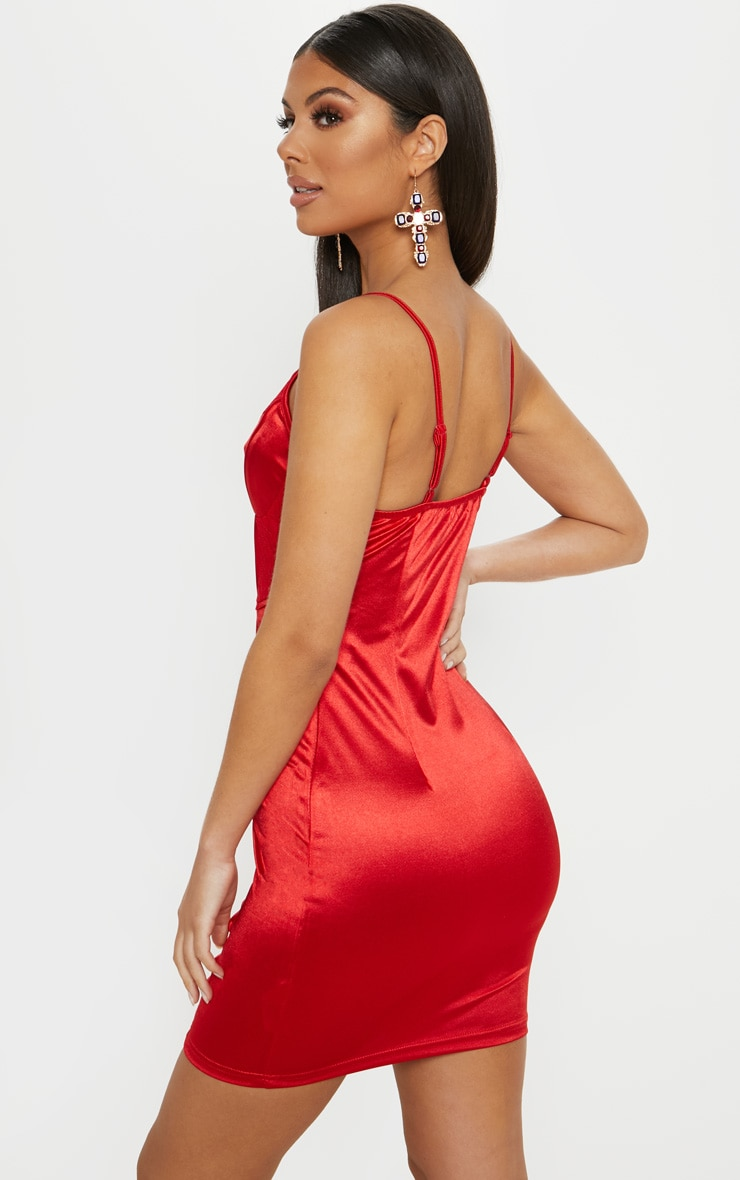 Red Satin Strappy Lace Panel Bodycon Dress 2