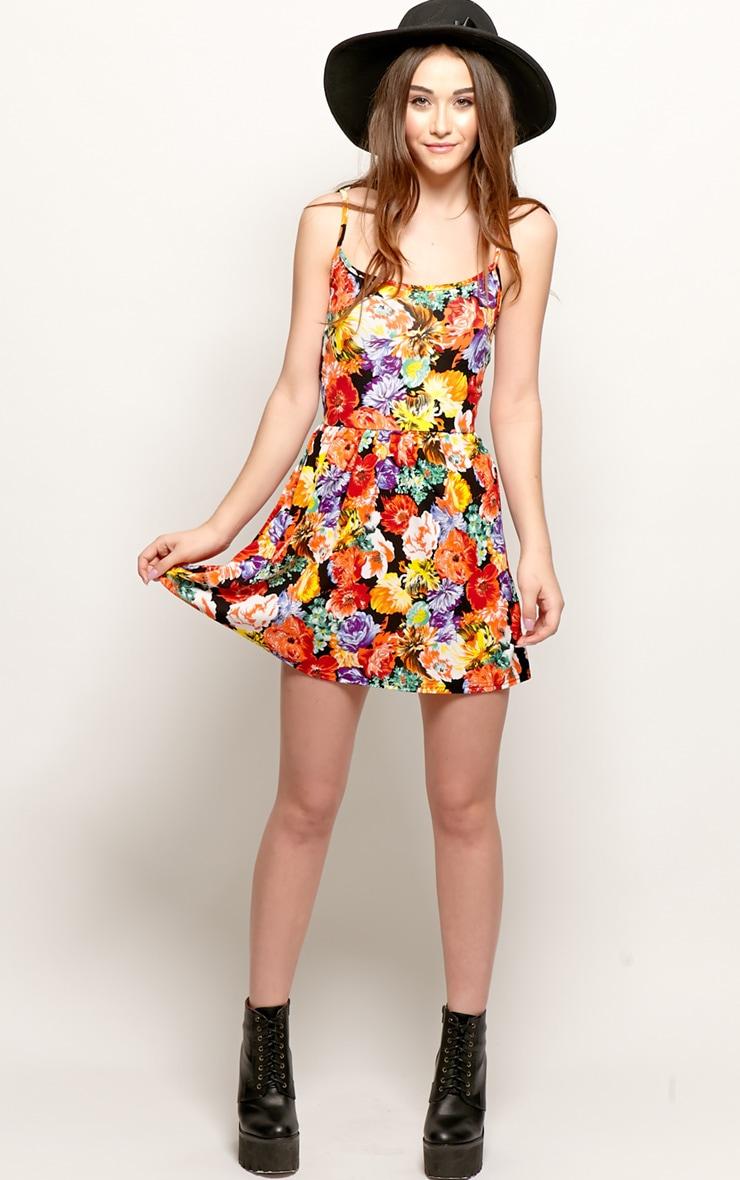 Sara Orange Floral Skater Dress 3
