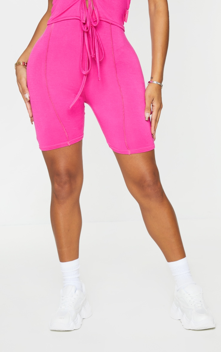 PRETTYLITTLETHING Shape Hot Pink Tag Bike Shorts 2