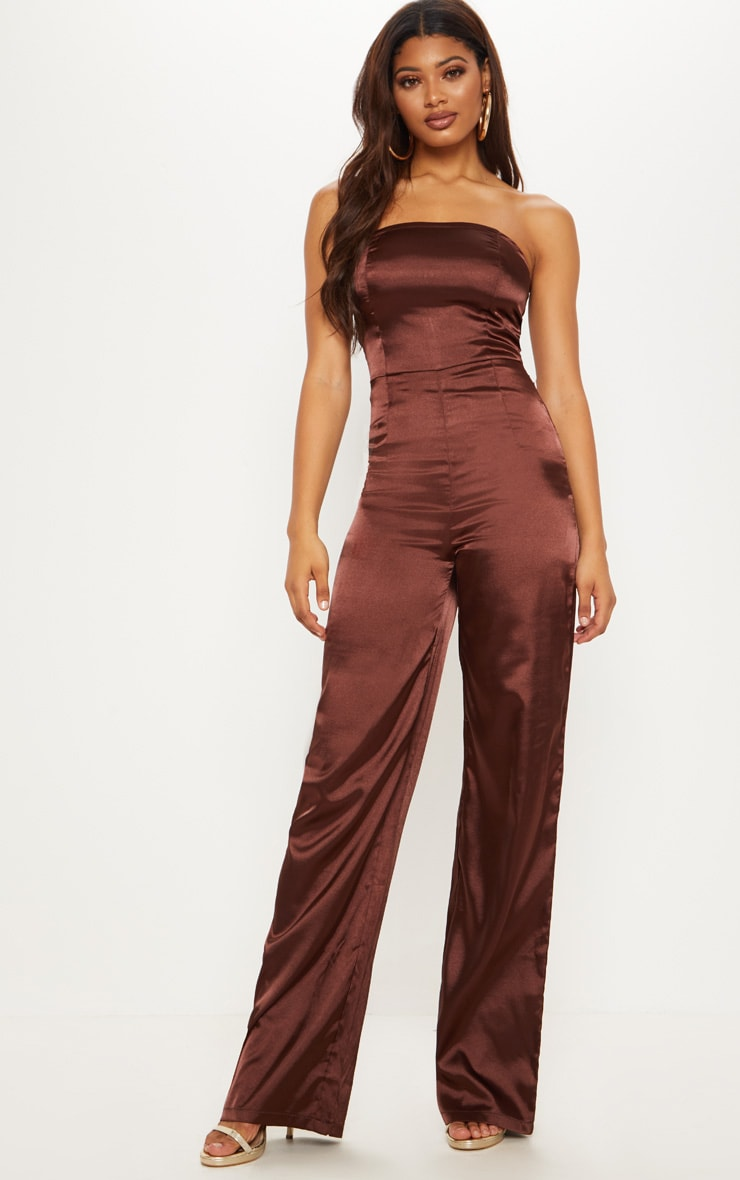 Tall Chocolate Brown Satin Bandeau Jumpsuit 4