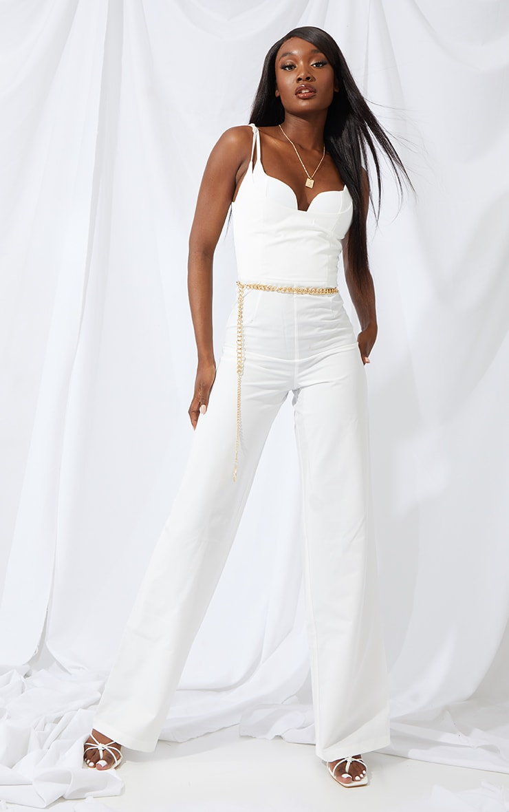 Tall Cream Cup Detail Wide Leg Jumpsuit 1