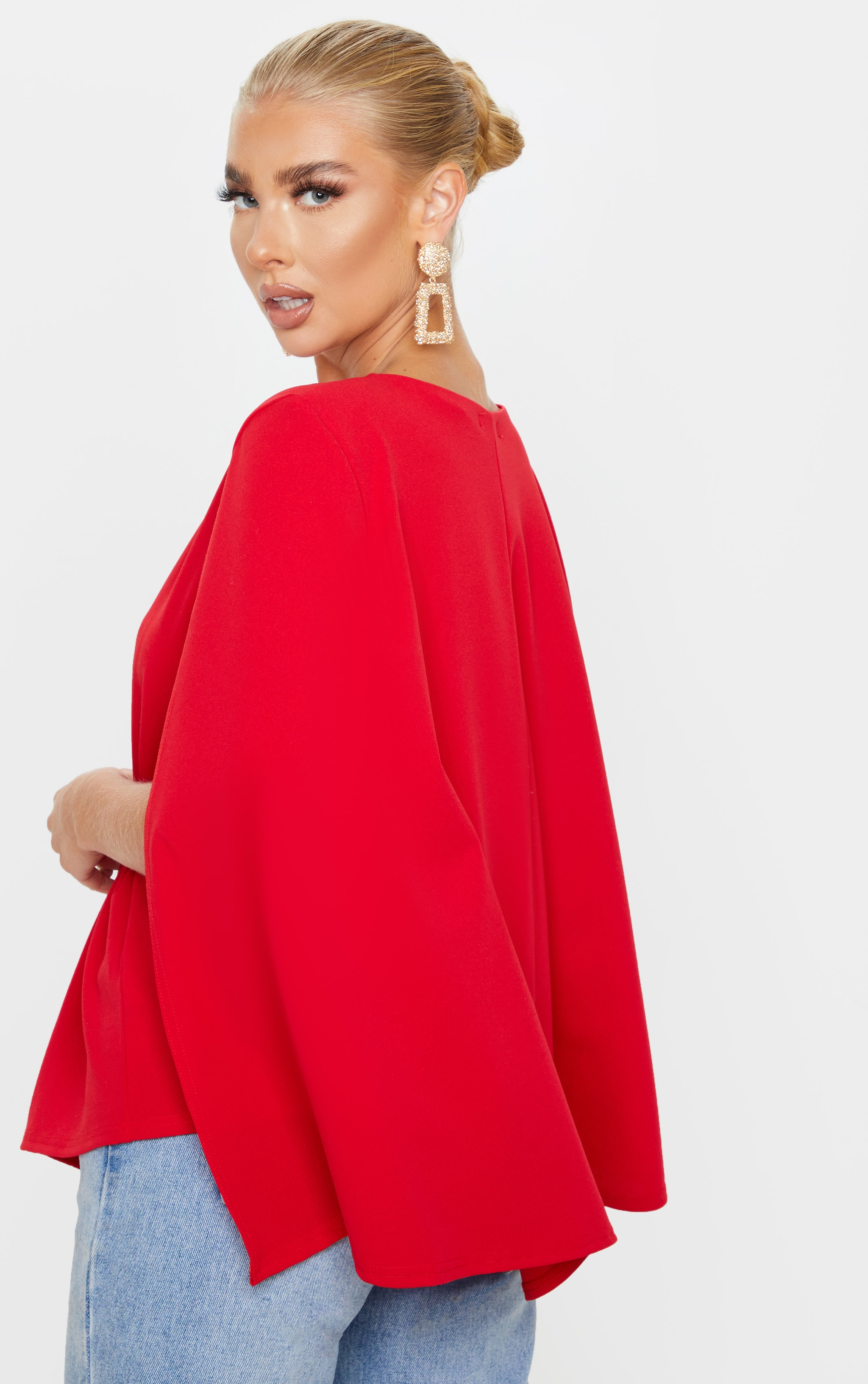Red Crepe Belted Cape Blazer 2