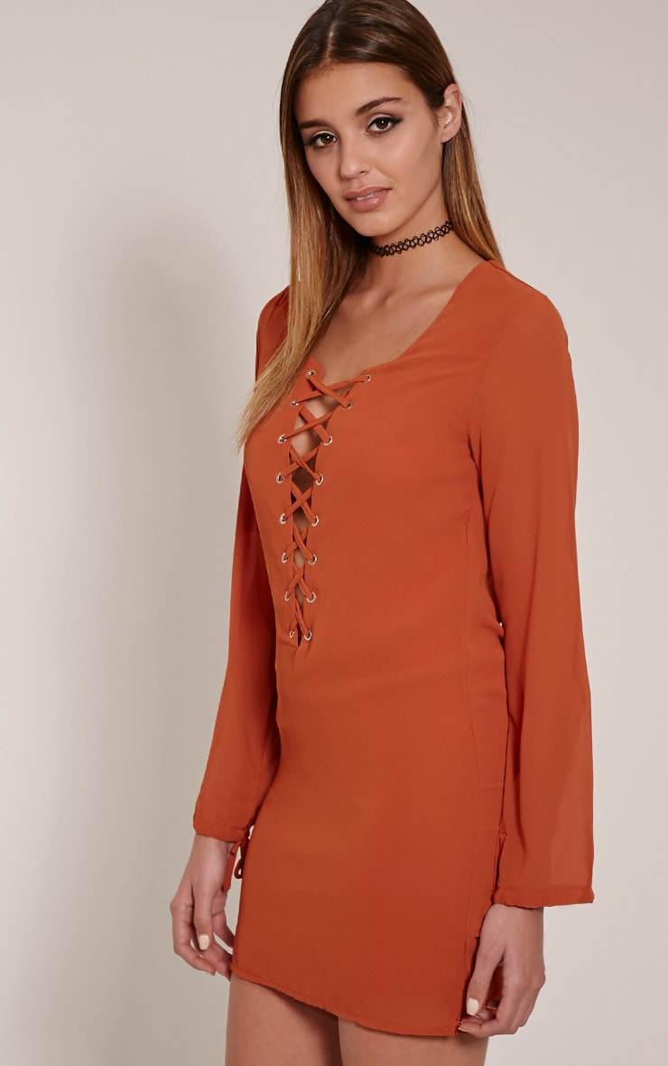 Pammy Rust Lace Up Front Shift Dress 1