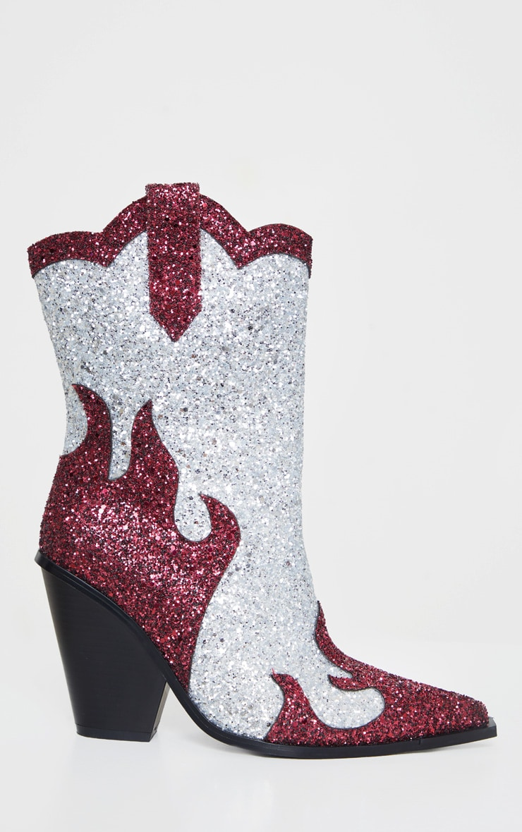 Red And Silver Glitter Flame Panel Western Ankle Boots 4