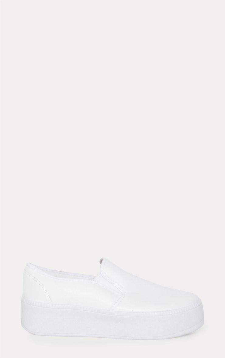 White PU Slip On Flatform Trainer 3