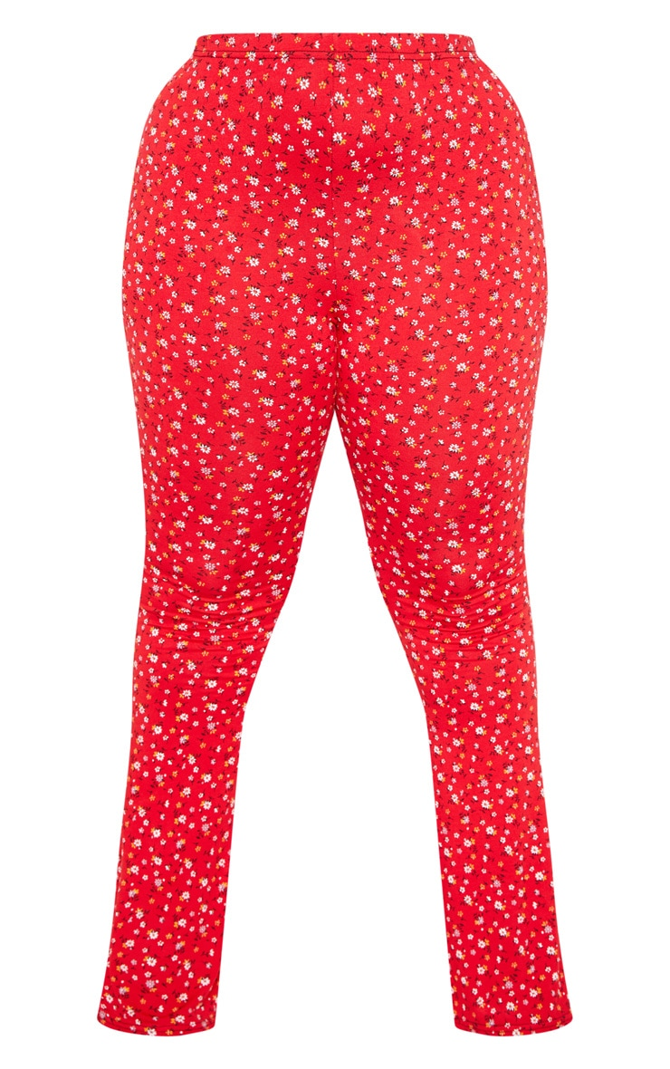 Plus Red Ditsy Floral Flared Pants  3