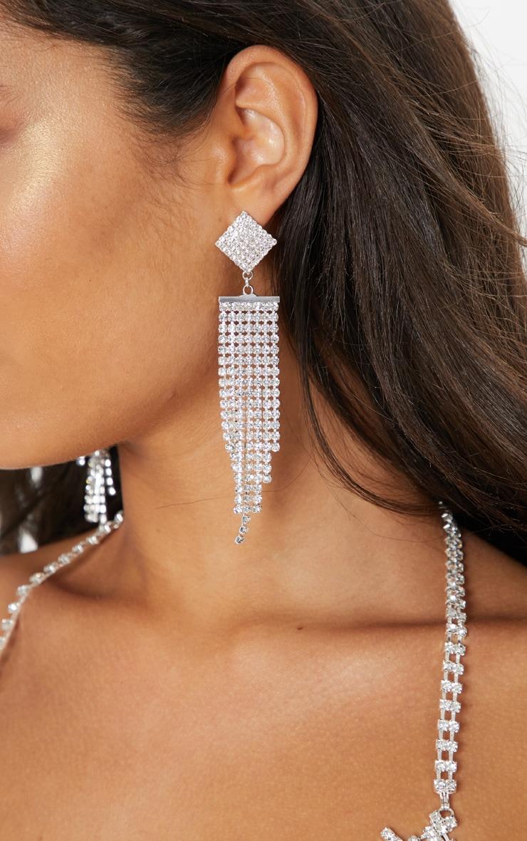 Silver Diamante Chain Drop Earrings 1