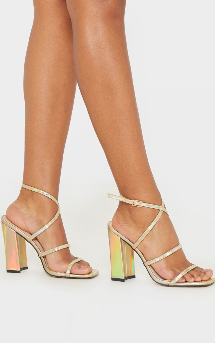 Nude Clear Strap Block Heel Sandal   Shoes