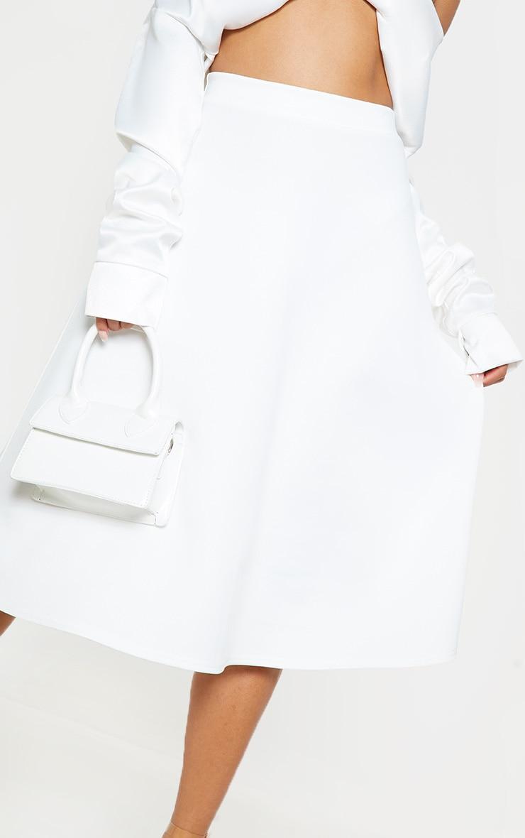 White Scuba A Line Flippy Midi Skirt  5
