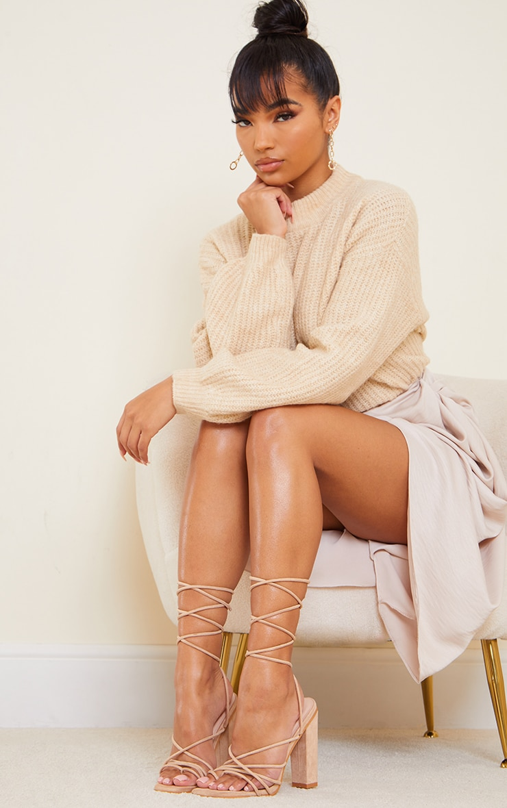 Nude Suede Strappy Toe Loop Lace Up High Block Heels 1