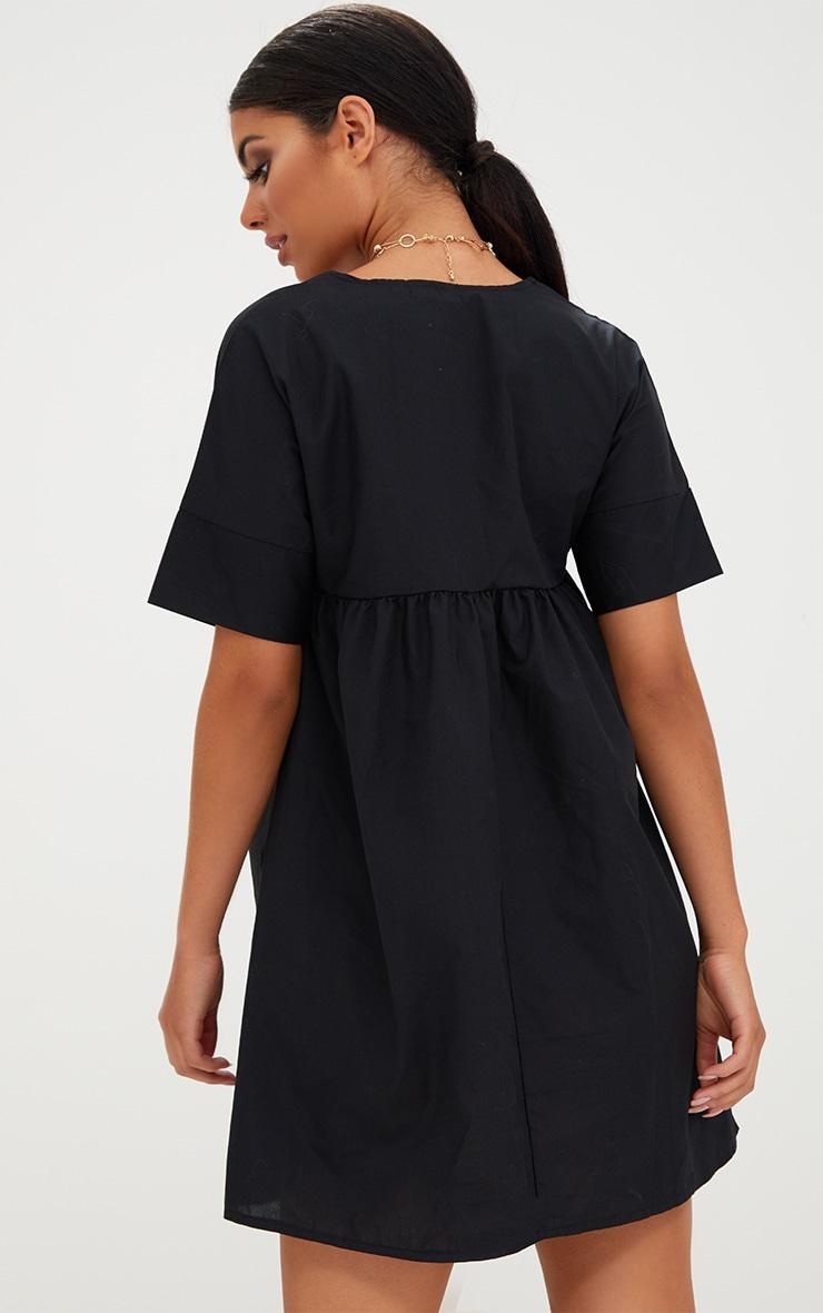 Black Poplin Smock Dress 2