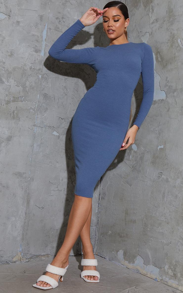 Charcoal Blue Washed Rib Long Sleeve Open Back Detail Midi Dress 2