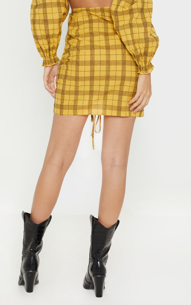 Mustard Check Print Ruched Front Mini Skirt 4