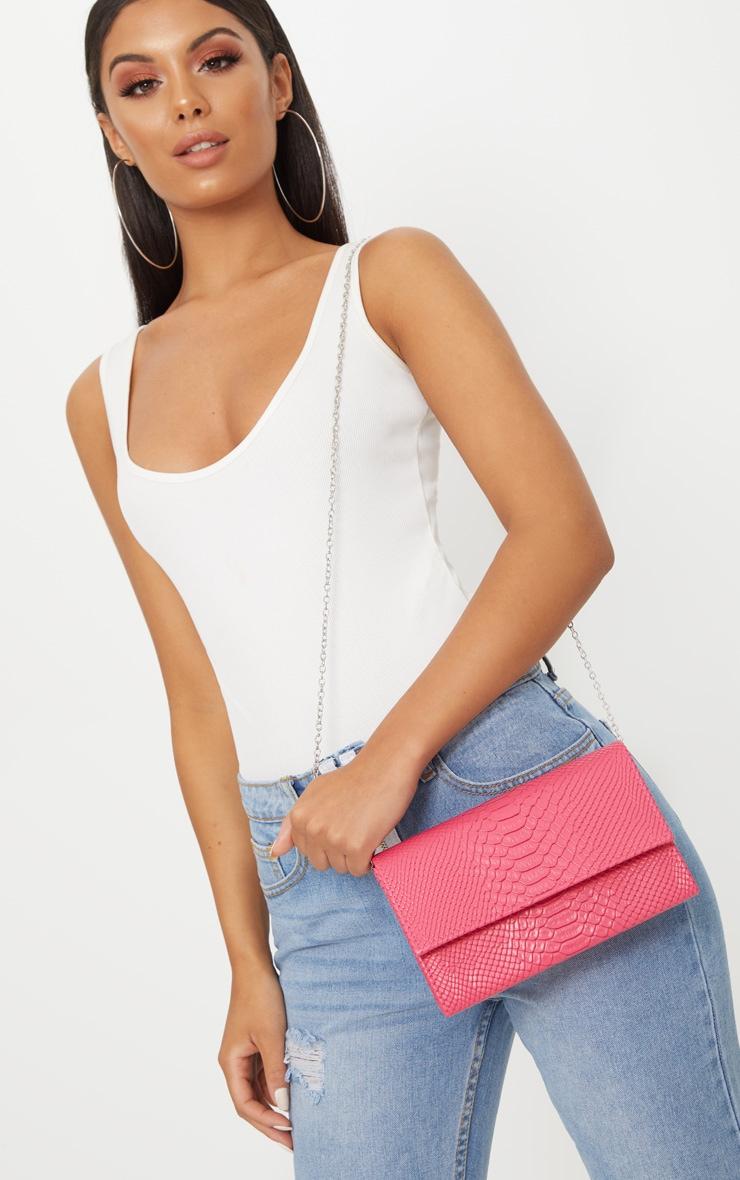 Bright Pink Croc Chain Strap Bag 1