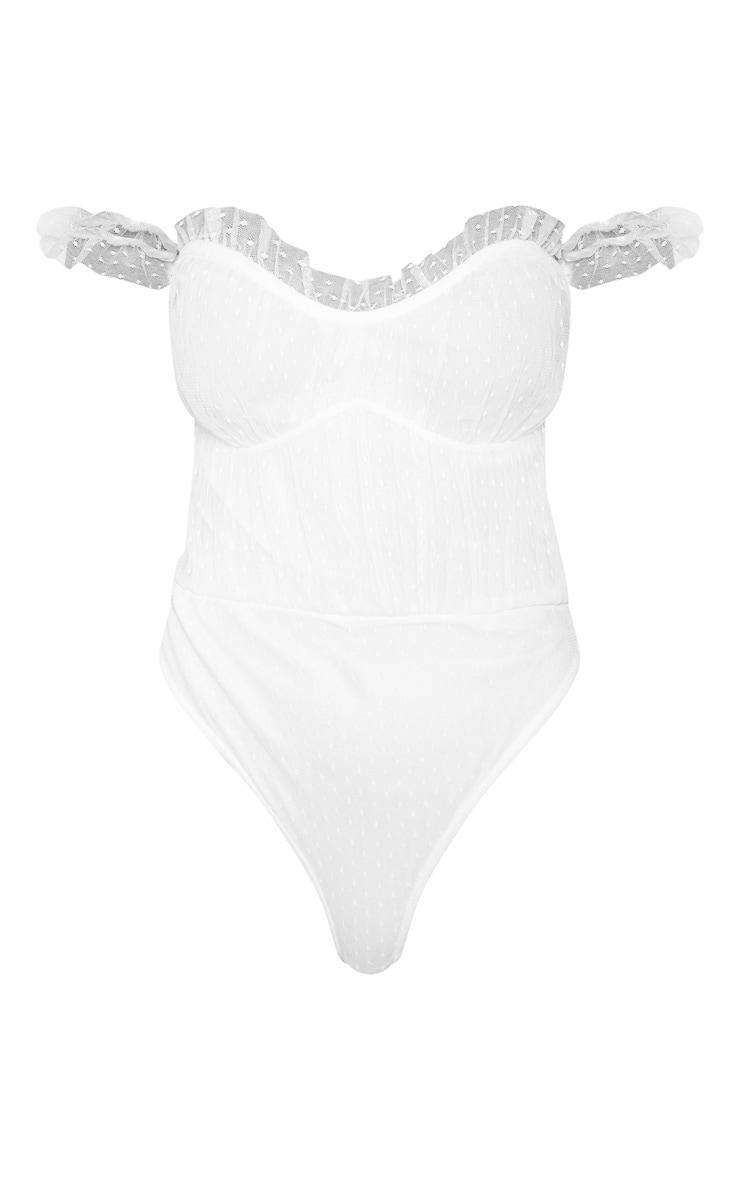 White Dobby Mesh Bardot Bodysuit  3