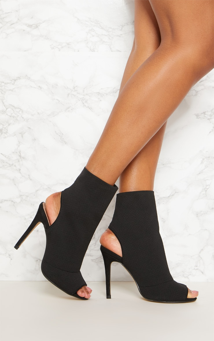Black Knit Peeptoe Shoe Boot 1