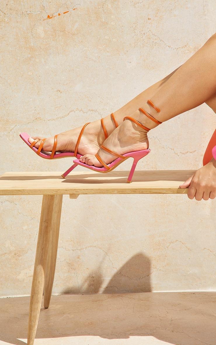 Orange Square Toe Loop Ankle Spring Heeled Sandals 2