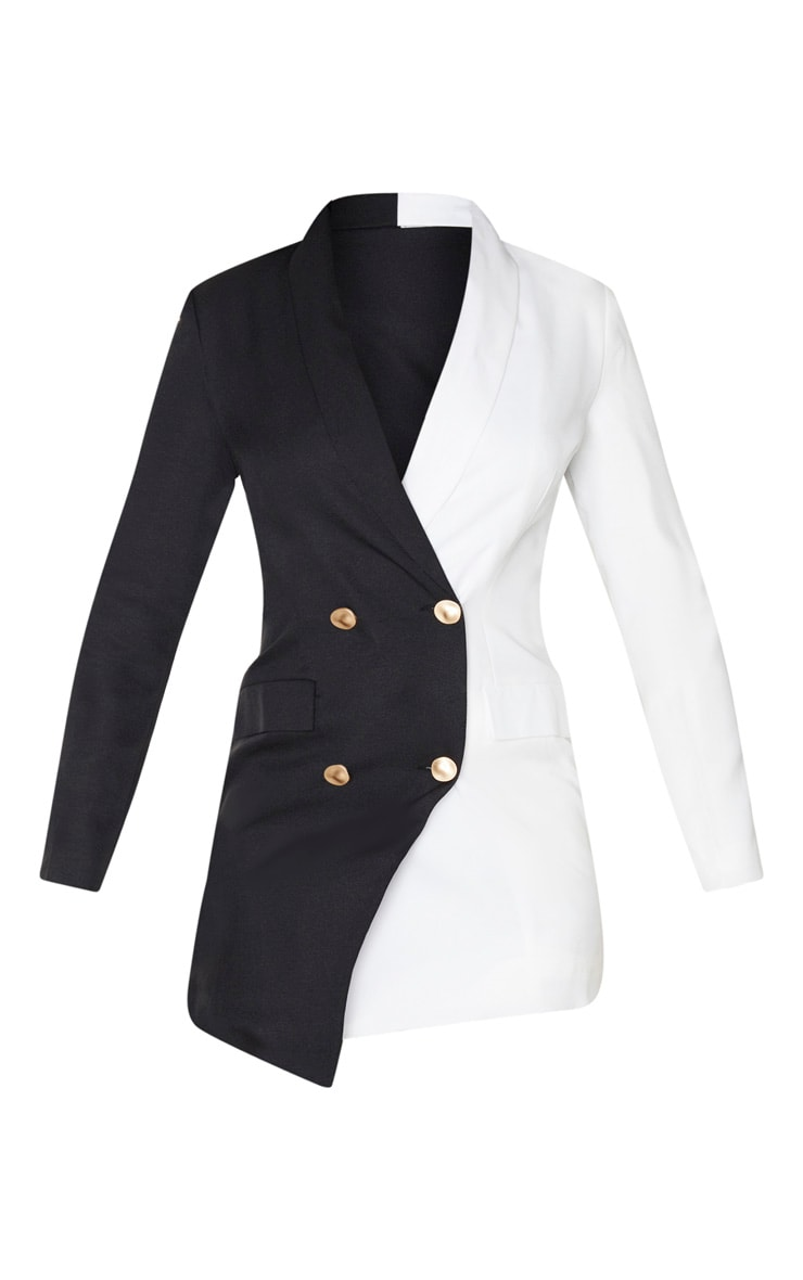 Monochrome Colour Block Gold Button Blazer Dress 3