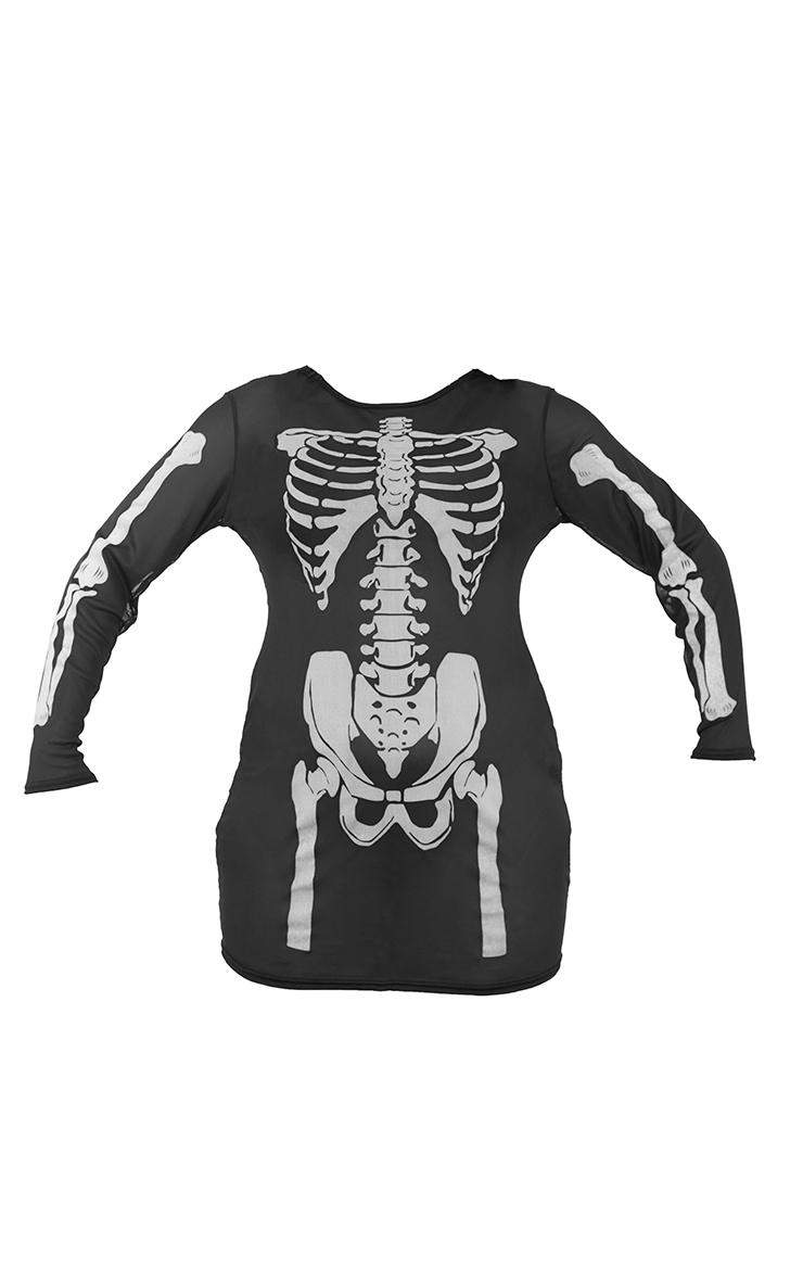Plus Black Skeleton Print Sheer Mesh Bodycon Dress 5