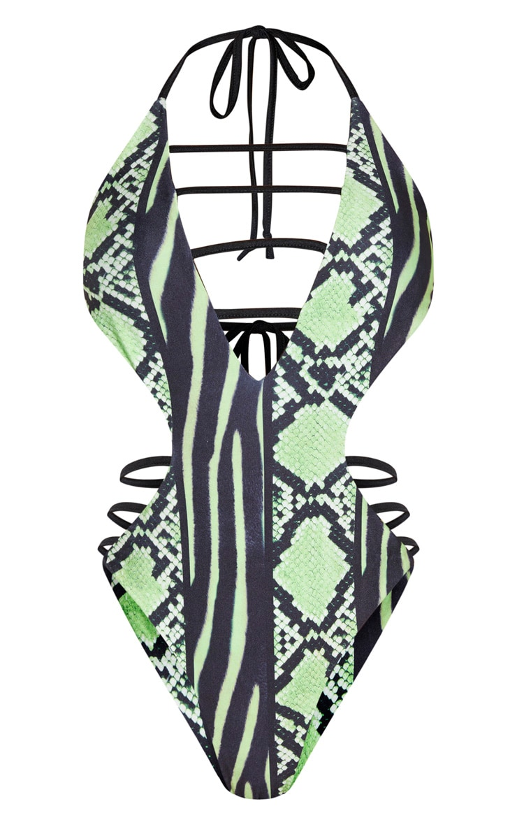 Lime Snake Print Strap Detail Plunge Swimsuit 4