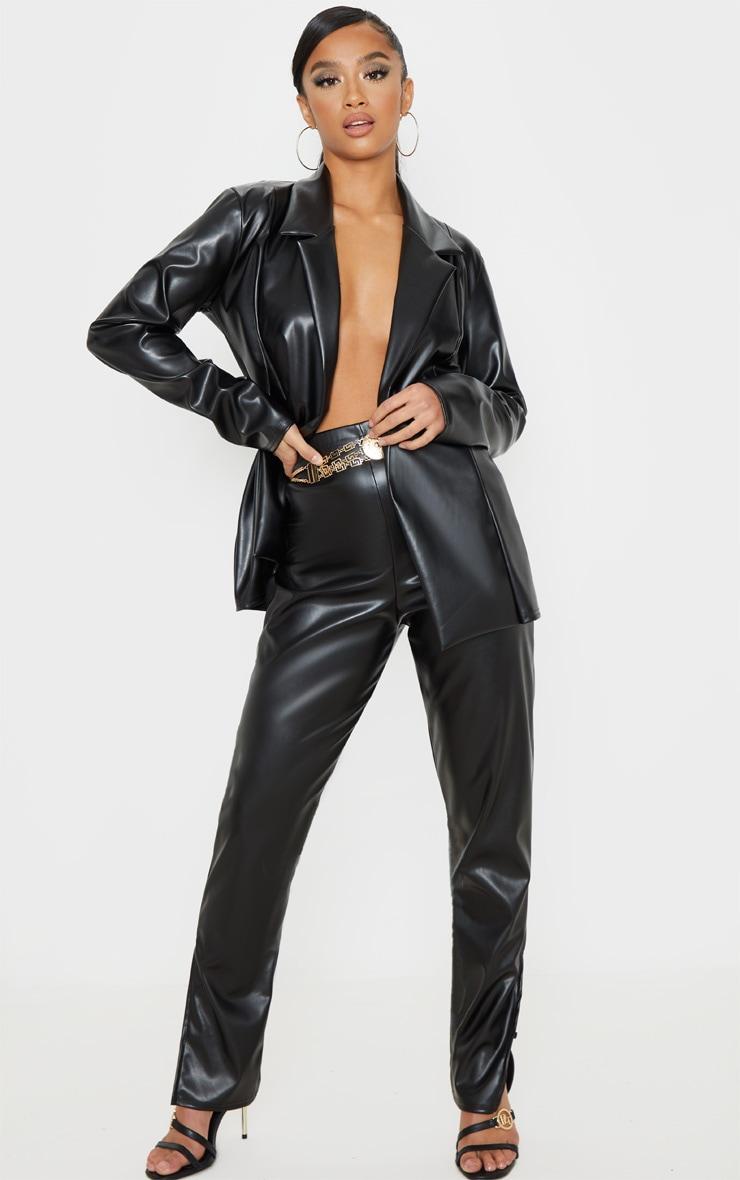 Petite Black PU Blazer  4