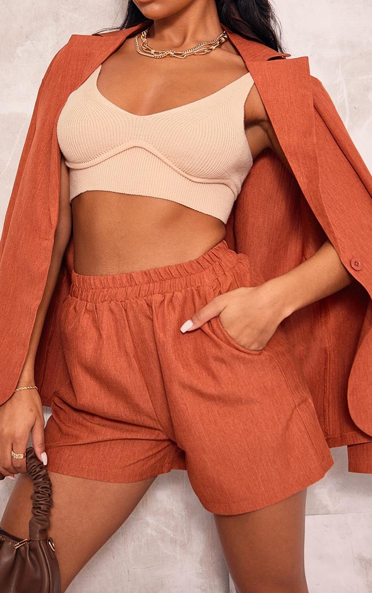 Rust Textured Woven Floaty Shorts 5