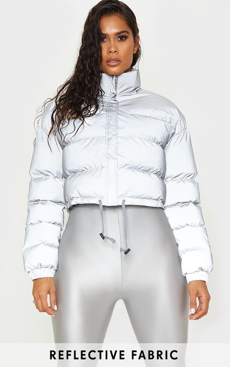 Grey Reflective Puffer Jacket