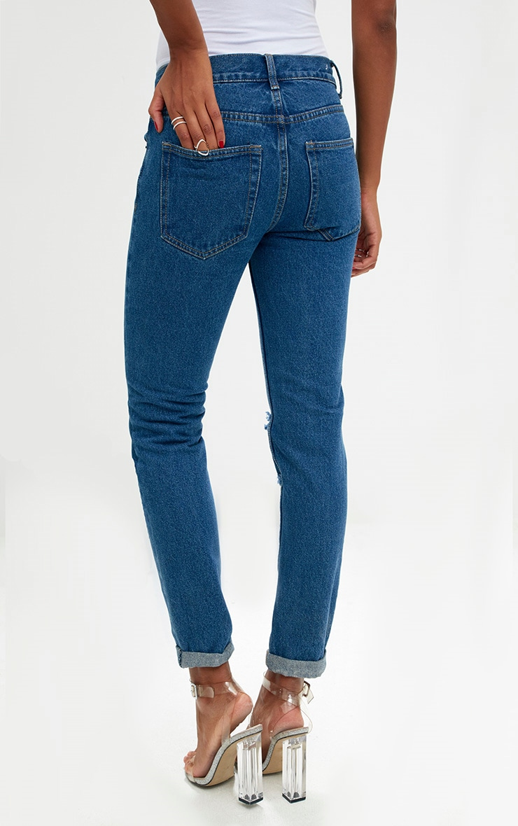 Mid Wash Double Rip Slim Leg Jean 4