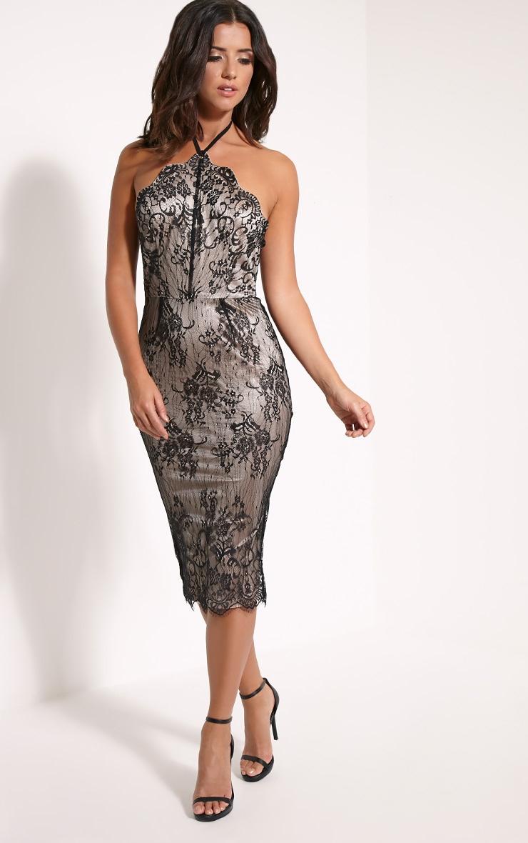 Callie Black Lace Halterneck Midi Dress 3