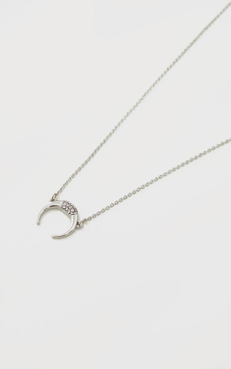Silver Bull Horn Charm Single Chain Necklace 4