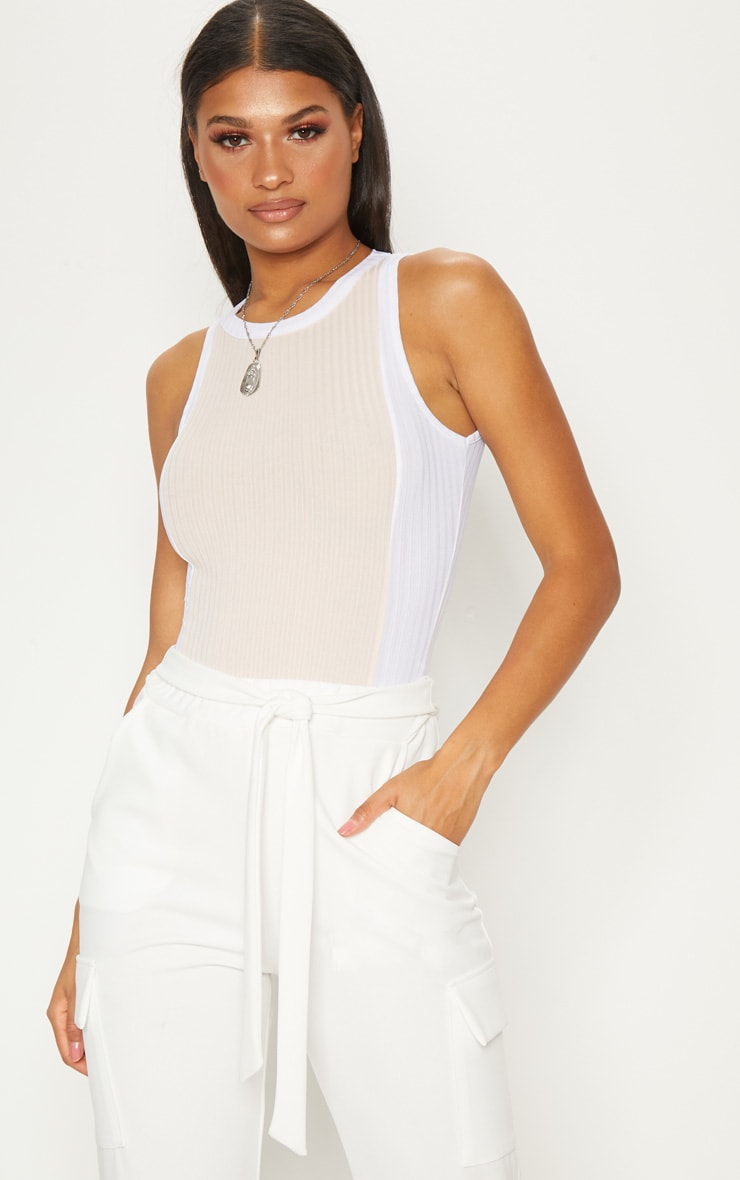 Nude Rib Contrast Detail Bodysuit