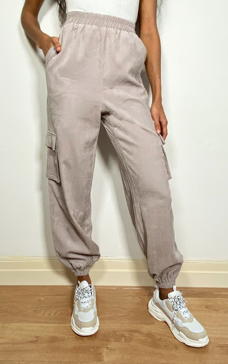 Light Grey Cord Pocket Detail Cargo Pants 2