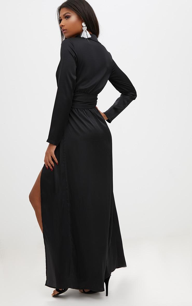 Black Long Sleeve Satin Belt Detail Maxi Dress 2