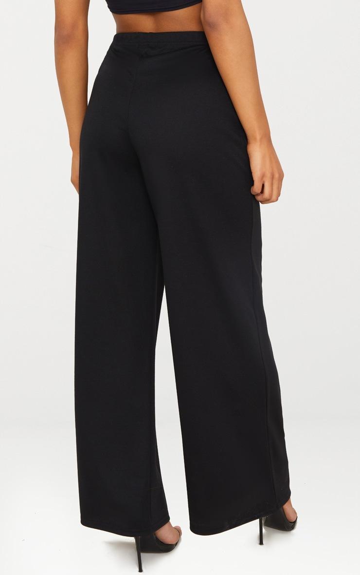 Black Sweat Wide Leg Trousers  4
