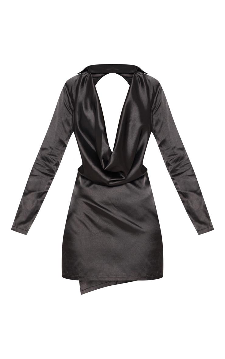Black Satin Cowl Neck Extreme Open Back Bodycon Dress 4