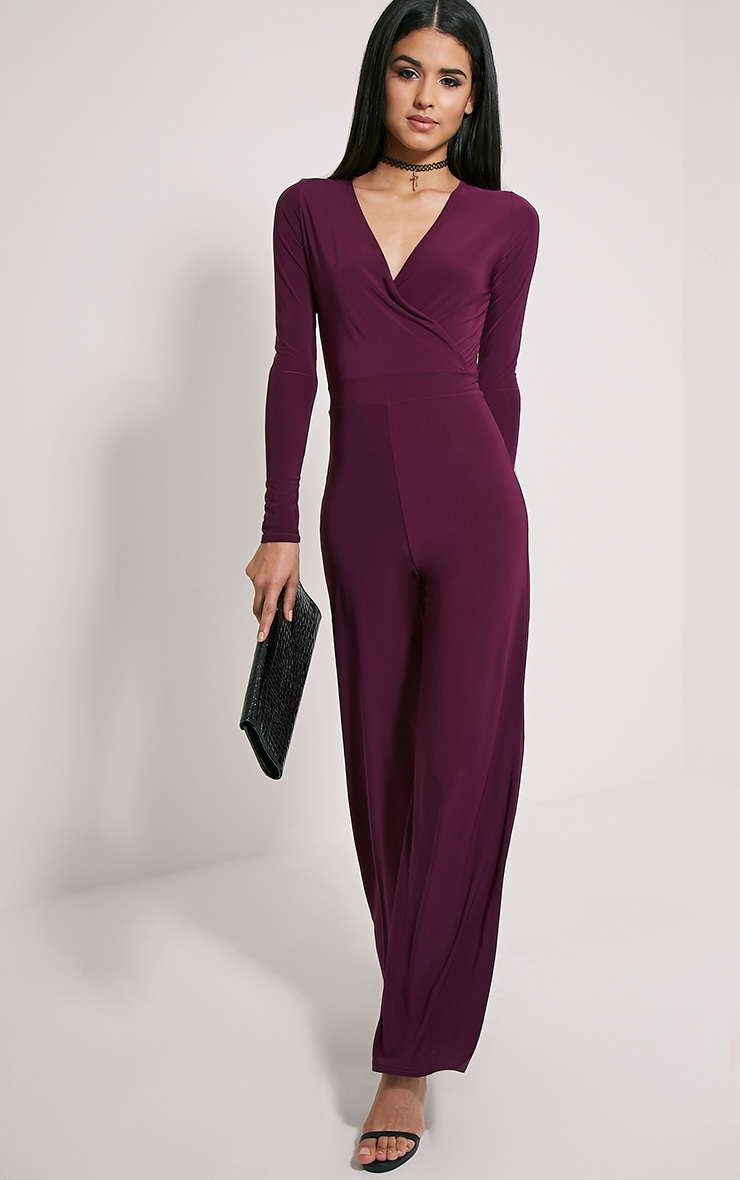 Jan Plum Wrap Slinky Jumpsuit 1