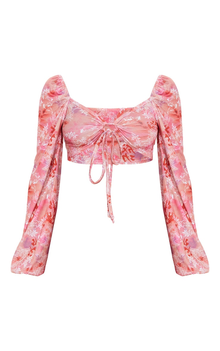 Pink Floral Print Ring Tie Crop Top 5