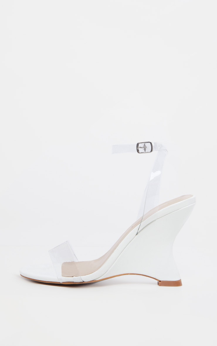 White Patent Clear Strap Wedge 4