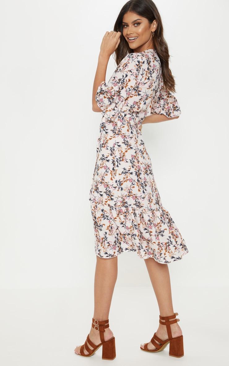 Pink Floral Print Frill Hem Midi Tea Dress 2