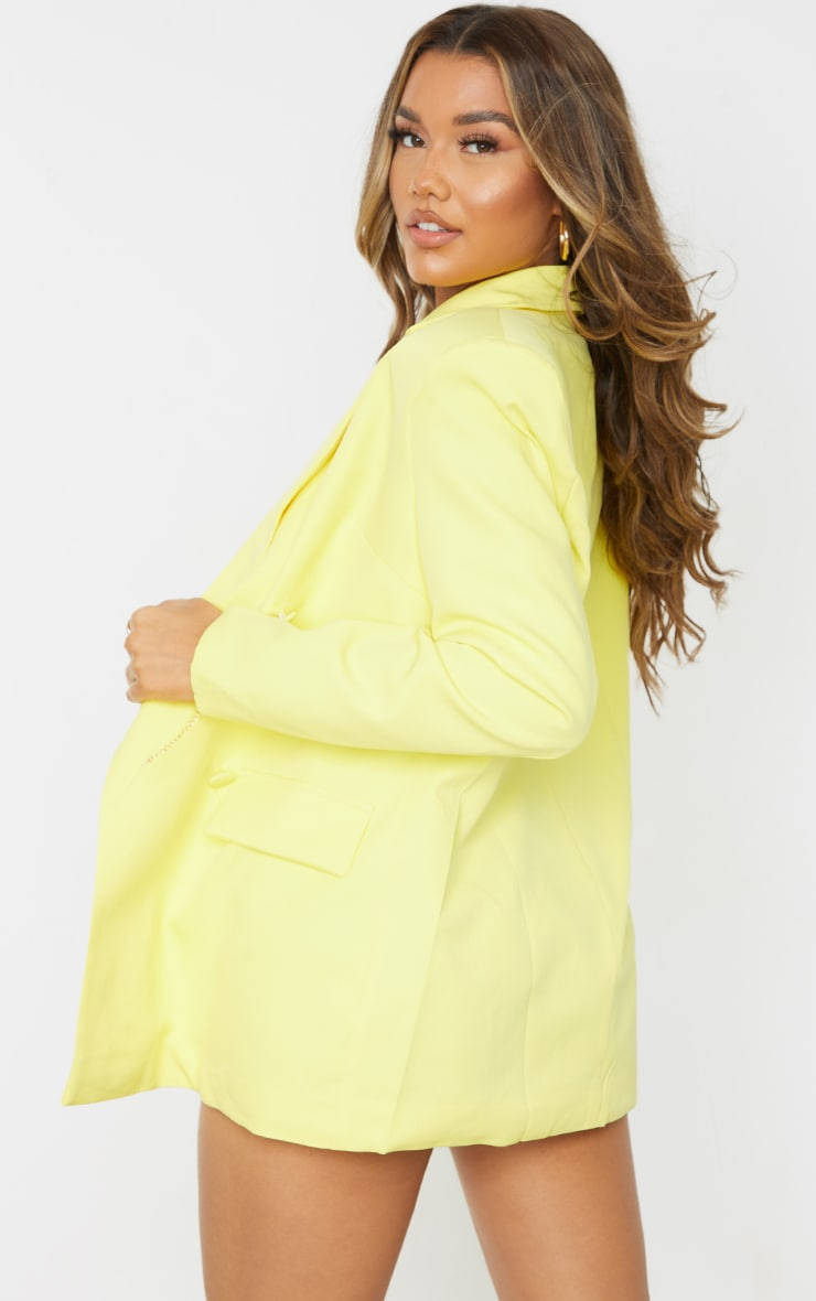 Yellow Woven Oversized Double Breasted Covered Button Blazer 2
