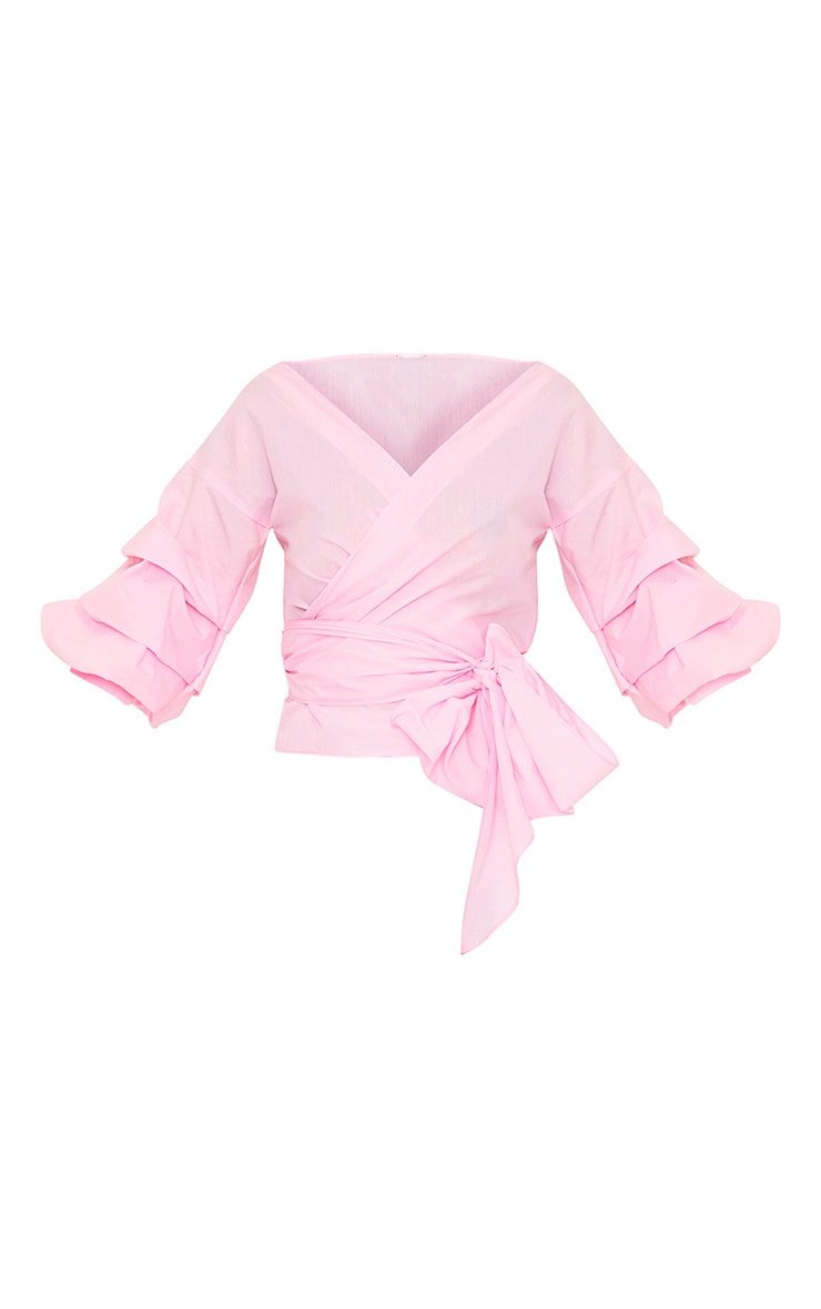 Marlow Baby Pink Oversized Ruffle Sleeve Low Shoulder Shirt 3