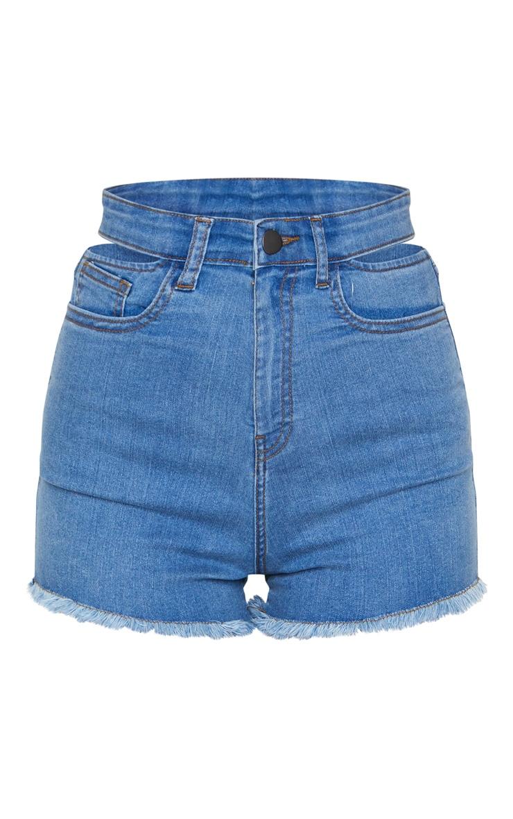 Mid Blue Wash Cut Out Waist Disco Shorts 6