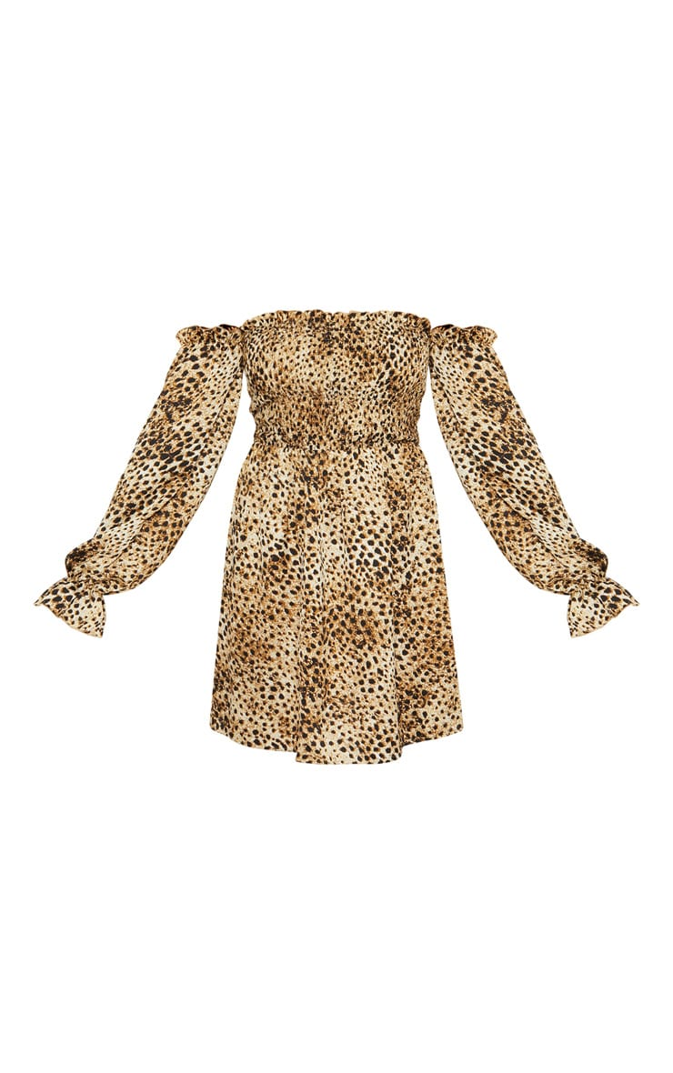 Brown Shirred Leopard Print Smock Dress 3