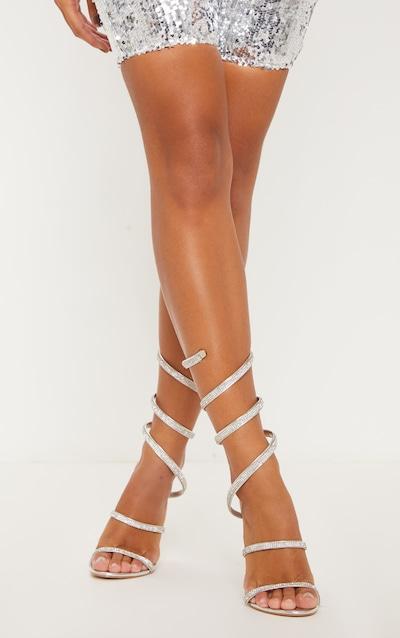 Silver Jewel Diamante Heel