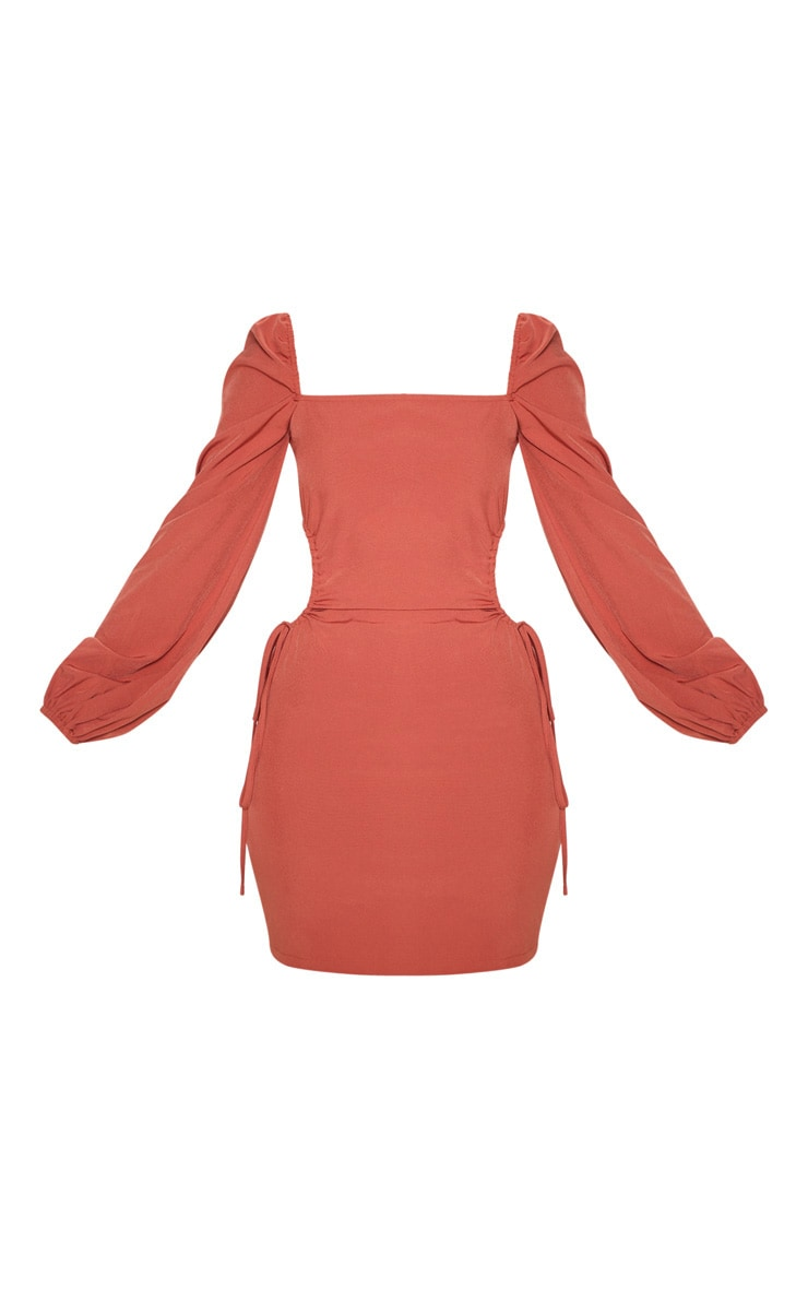 Rust Cargo Square Neck Ruched Cut Out Bodycon Dress 3