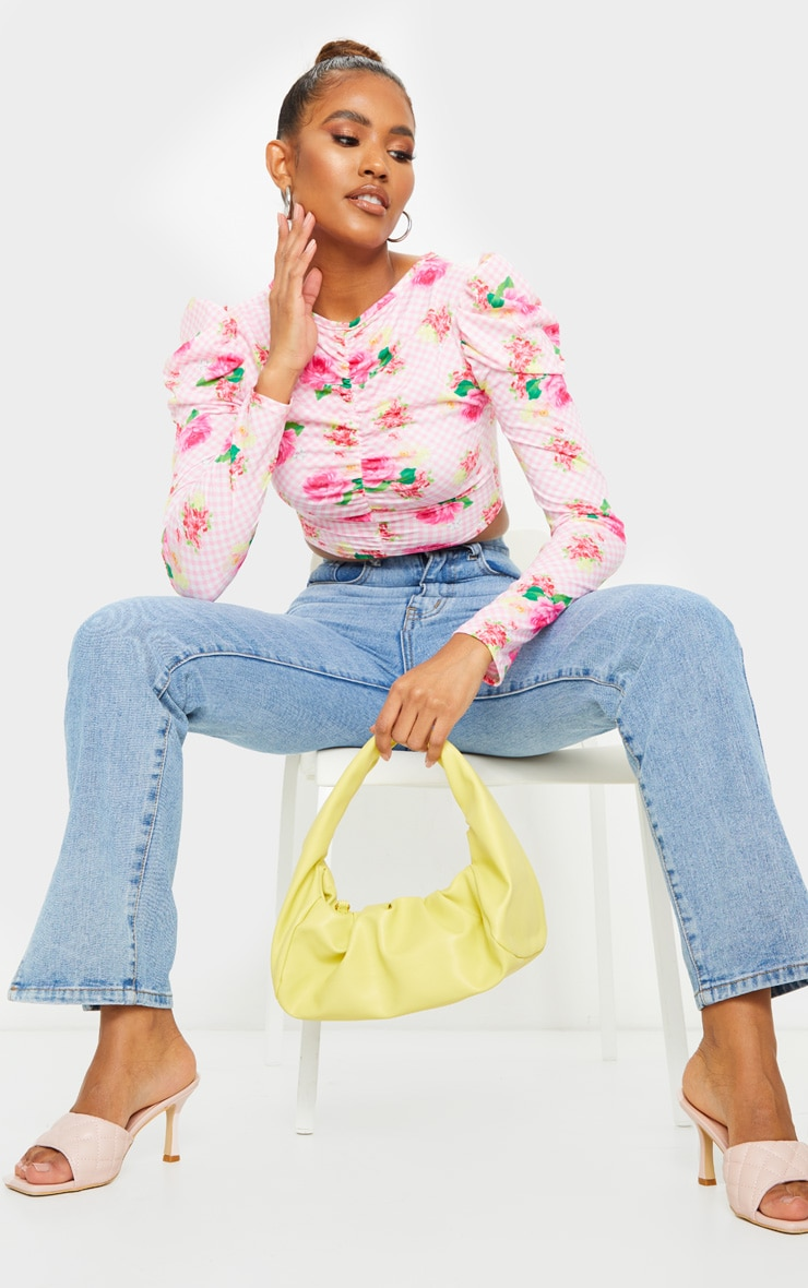 Baby Pink Floral Ruched Long Sleeve Top 3