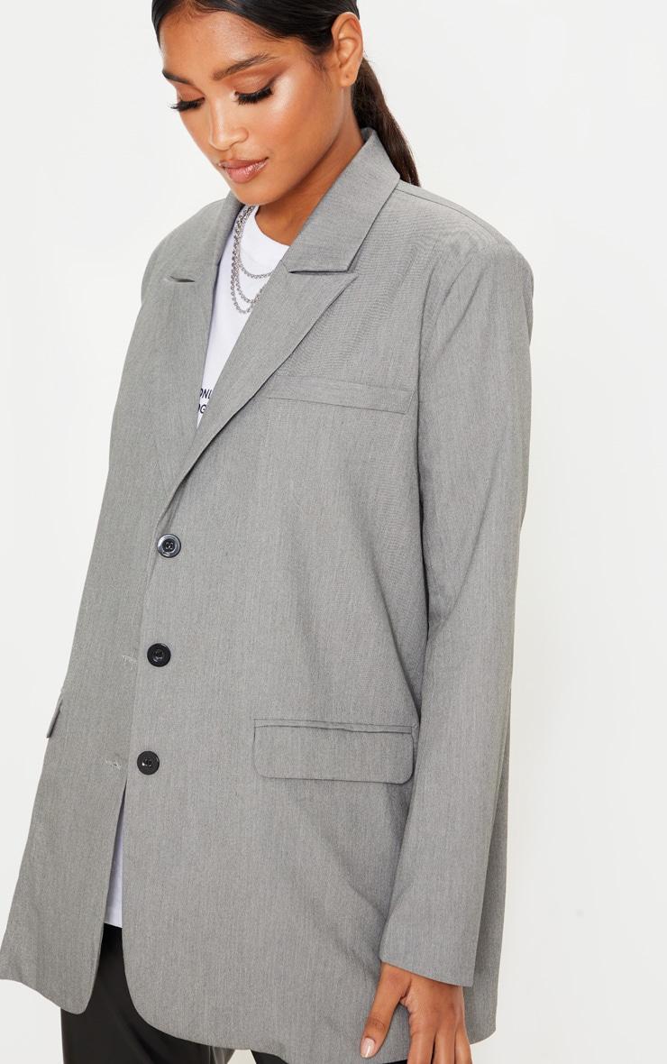 Grey Oversized Woven Blazer 5