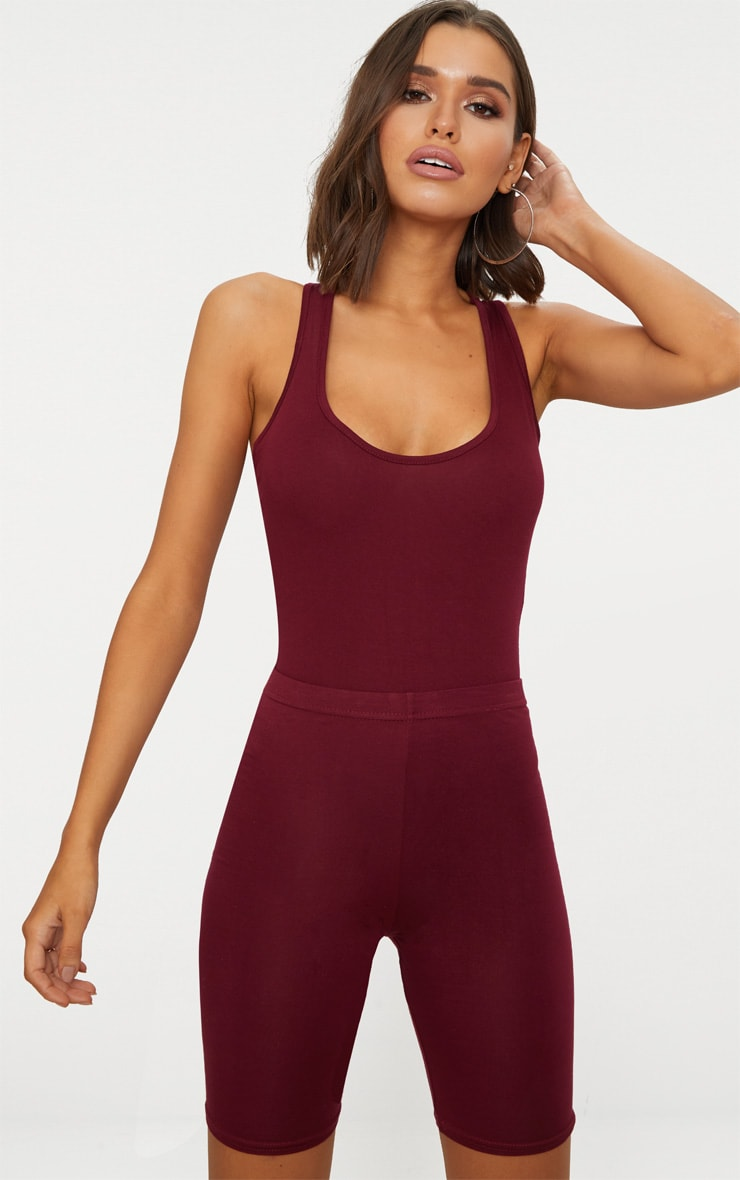 Basic Maroon Racer Back Thong Bodysuit  1