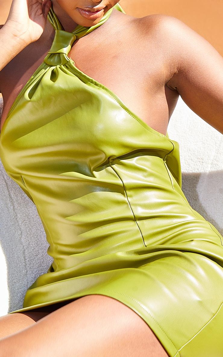 Olive Pu Halterneck Knotted Bodycon Dress 4