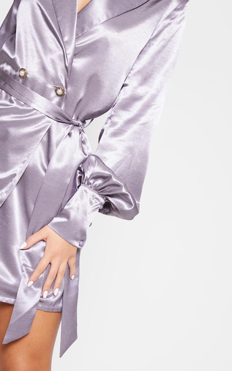 Lilac Satin Pearl Button Blazer Dress 5